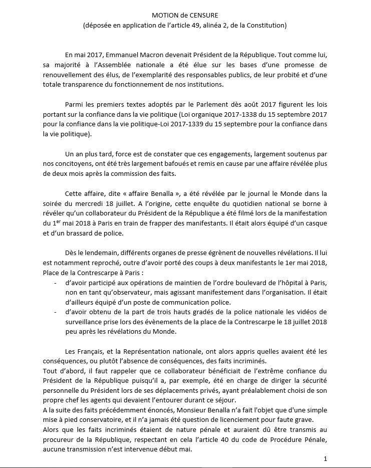 Motion de censure du Gouvernement par le Groupe « Les Républicains »