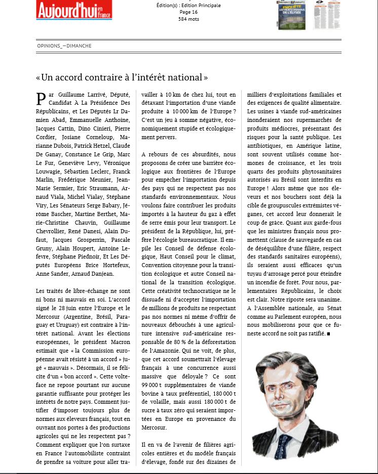 Tribune sur le Mercosur dans «Aujourd'hui en France»